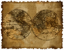 Karte mit zwei Hemisphären Stockbild