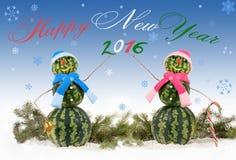 Karte mit zwei Wassermelone Schneemann mit Aufschrift guten Rutsch ins Neue Jahr und 2016 Lizenzfreie Stockfotos