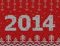 Karte neuen Jahres 2014 mit gestrickter Beschaffenheit Lizenzfreies Stockfoto