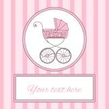 Karte oder Einladung mit Retro- angeredetem Kinderwagen und Platz der Babyankunft für Text, Vektorillustration Stockfotos