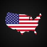 Karte Staaten von Amerika mit der Flagge nach innen Schattenbild-USA-Karte und -flagge Stockfotos