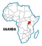 Karte Ugandas Afrika vektor abbildung