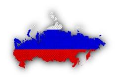 Karte und Flagge von Russland auf altem Leinen stockfotos