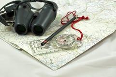 Karte und Kompaß Lizenzfreie Stockfotos