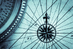 Karte und Kompass Stockbilder