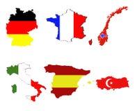 Karte und Markierungsfahne der europäischen Länder Lizenzfreies Stockbild