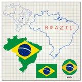 Karte und Markierungsfahne von Brasilien Lizenzfreies Stockbild