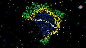 Karte und Markierungsfahne von Brasilien stock video