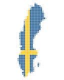 Karte und Markierungsfahne von Schweden stock abbildung