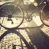 Karte und Muster mit Fahrrad Stockbild
