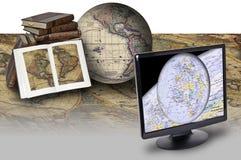 Karte und Technologie Lizenzfreies Stockbild