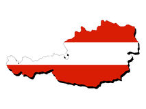 Karte von Österreich mit Markierungsfahne Stockfotografie