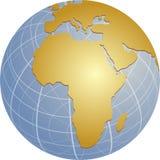 Karte von Afrika auf Kugel stock abbildung