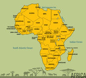 Karte von Afrika mit allen Ländern Lizenzfreie Stockfotos