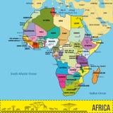 Karte von Afrika mit allen Ländern und ihren Hauptstädten Lizenzfreie Stockfotografie