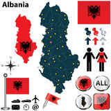 Karte von Albanien Stockfotografie