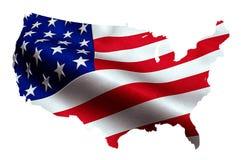 Karte von amerikanischen USA mit wellenartig bewegender Flagge im Hintergrund, Staaten von Amerika Lizenzfreies Stockfoto