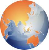Karte von Asien auf Kugel   Lizenzfreies Stockfoto