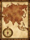 Karte von Asien mit einem Kompaß vektor abbildung
