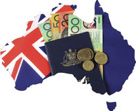 Karte von Australien mit Flagge, Bargeld und Pass für Reisekonzept Lizenzfreies Stockbild
