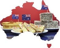 Karte von Australien traditionelles Parteilebensmittel zeigend Stockbilder
