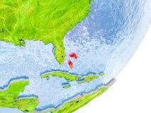 Karte von Bahamas auf Erde Lizenzfreie Stockbilder