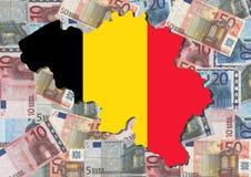 Karte von Belgien mit Euro Lizenzfreies Stockbild