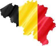Karte von Belgien mit Markierungsfahne lizenzfreie stockbilder