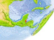 Karte von Belize auf Erde Stockbild