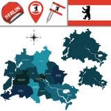 Karte von Berlin mit Städten Stockfotografie