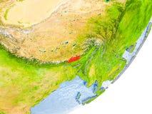 Karte von Bhutan auf Erde Lizenzfreie Stockbilder