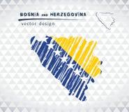 Karte von Bosnien und Herzegowina mit Hand gezeichneter Übersichtskarte nach innen Auch im corel abgehobenen Betrag vektor abbildung