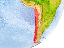 Karte von Chile auf Erde Stockbild