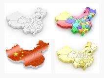 Karte von China. 3d Lizenzfreies Stockfoto