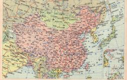 Karte von China lizenzfreie stockbilder