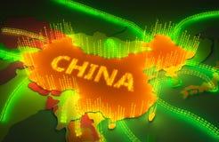 Karte von China surronded durch eine binäre Brandmauer lizenzfreie abbildung