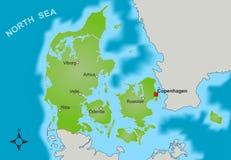 Karte von Dänemark stockfoto