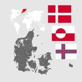 Karte von Dänemark mit Seen und Flüsse und drei Flaggen Lizenzfreies Stockfoto