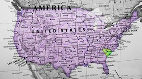 Karte von den Vereinigten Staaten von Amerika, die South- Carolinastaat hervorheben lizenzfreie stockbilder