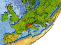Karte von der Schweiz auf Erde Lizenzfreie Stockbilder