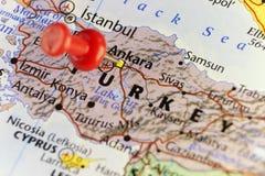 Karte von der Türkei, roter Stift von Ankara Stockfotografie