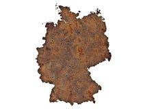 Karte von Deutschland auf rostigem Metall lizenzfreie stockfotos