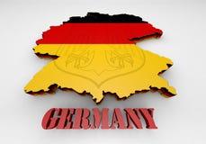 Karte von Deutschland mit Markierungsfahne Stockfotografie