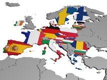 Karte von Europa in den nationalen Farben Lizenzfreie Stockfotografie