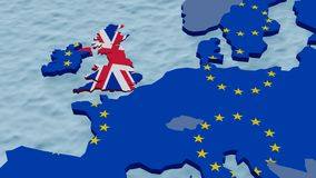 Karte von Europa mit dem Sinken von England stock video footage