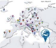 Karte von Europa mit Staatsflaggen Stockfotos