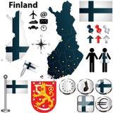 Karte von Finnland mit Regionen Stockfotos