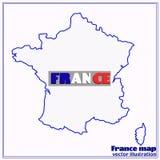 Karte von Frankreich Auch im corel abgehobenen Betrag Lizenzfreie Stockbilder