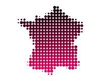 Karte von Frankreich in den purpurroten Punkten lizenzfreie abbildung
