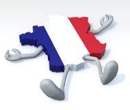 Karte von Frankreich mit den Armen und Beinen, die sich hinlegen Lizenzfreie Stockfotografie